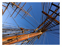 Masts and rigging in the winter sun RRS Discovery